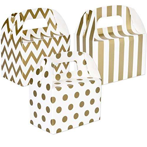 Christmas Gable Boxes - 42 Gold & White Cardboard Gable Favor Treat Boxes Chevron, Stripes & Polka Dot with Handles For Birthday Bridal & Baby Shower Christmas Holiday Anniversary Wedding Reception Party Supplies Decorations