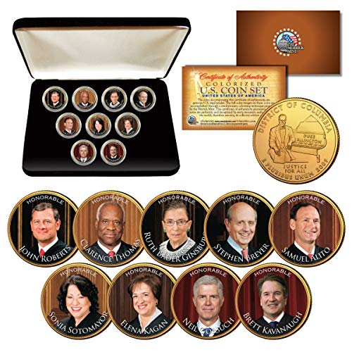 2018 SUPREME COURT JUSTICES Wash. DC Quarters 24K Gold Plated 9-Coin Set w/Box (Justice Plated Gold)