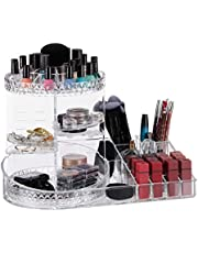 Relaxdays Makeup Organiser, 360° Rotating, Cosmetic & Jewellery Tray, Various Compartments, Acrylic, PS, 1 Piece