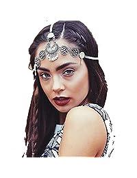 Bohemia Headbands for Women Hair Accessories Antique Silver Chain Drape Head Piece Chains Tassel Tiaras Hairbands