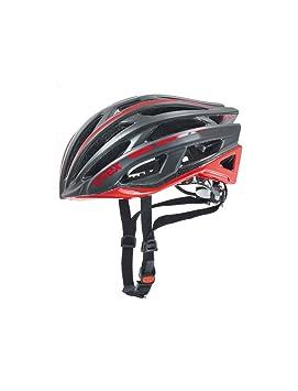 Uvex Race 5 Casco de Ciclismo, Unisex Adulto, Negro-Rojo, 55-