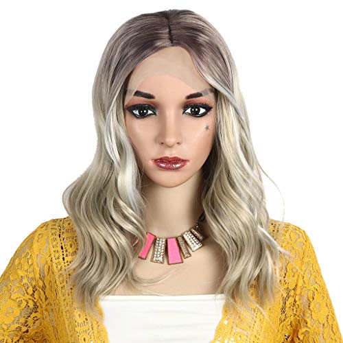 iSkylie Women Short Curly Synthetic Blond Wigs Charming Full Wigs Waves Synthetic Wig Cosplay Hair for Ladies (A-Rose Inner Ne, 18inch) ()
