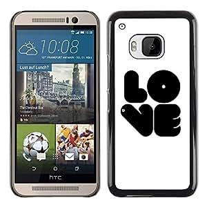 LECELL -- Funda protectora / Cubierta / Piel For HTC One M9 -- Black LOVE --