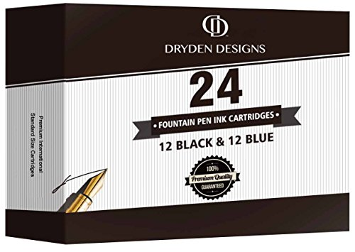 Dryden Fountain Pen Ink Cartridges ✮ SET OF 24: 12 BLACK & 12 BLUE ✮ Short International Standard Size ✮ Disposable and Generic Ink Refill Cartridges ✮ Perfect for Calligraphy