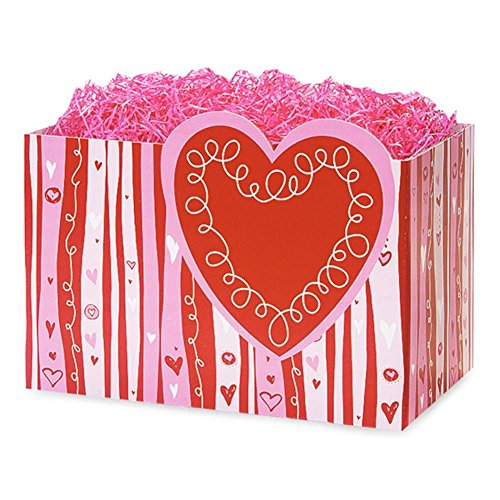 Large Swirly Hearts Basket Boxes - 10 1/4 x 6 x 7 1/2in. - 54 Pack by NW