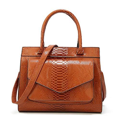 Women Boston Bag Top Handle Snake Skin Grain Handbags Faux Leather Shoulder Purse - Brown
