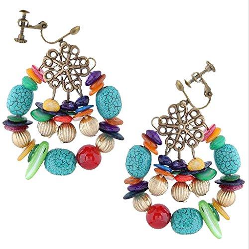 (Fashion Bohemian Clip on Earrings Vintage Turquoise Shell Stone Flower Dangle for Girls)
