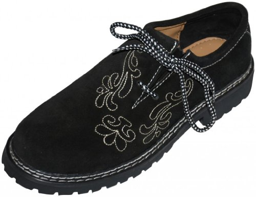 Leather-German-Embroidered-Oktoberfest-Lederhosen-Haferl-Shoe-Black