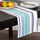 Multi-Stripe Dining Linens Set: One Table Runner, Four Placemats and Four Napkins, All 100% Cotton, From Top Drawer (Nautical)