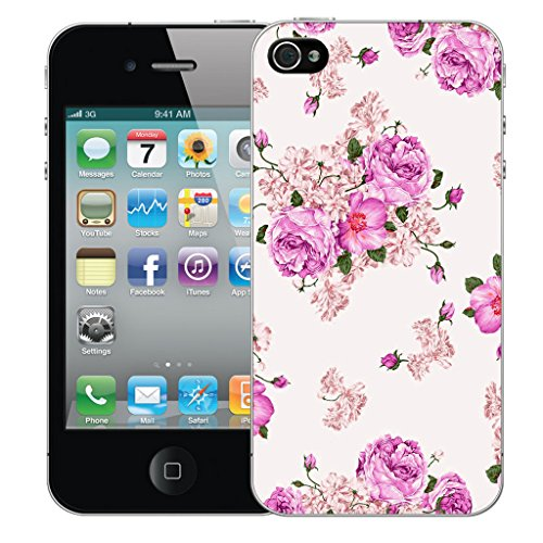 Mobile Case Mate iPhone 4 Silicone Coque couverture case cover Pare-chocs + STYLET - Purple Carnation pattern (SILICON)