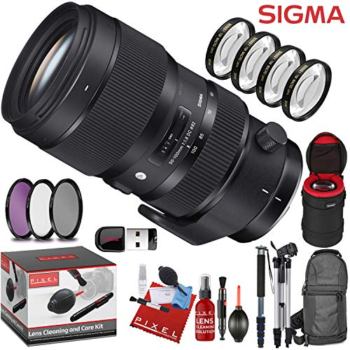 Sigma 50-100mm f/1.8 DC HSM Art Lens for Nikon F with 7 Piece Creative Filter Kit and a Heavy Duty Extra Padded Lens Case