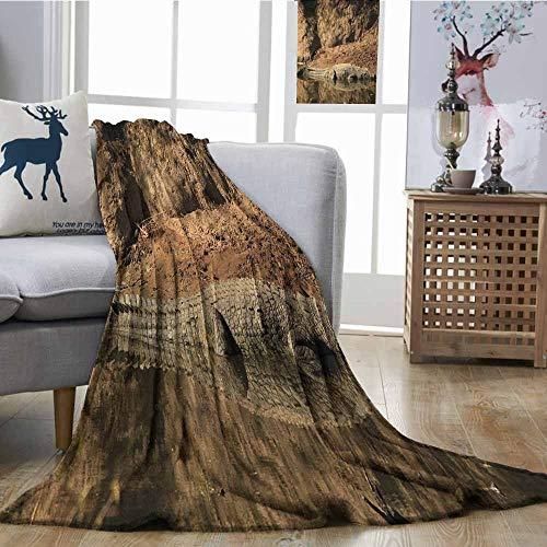 - Decorative Throw Blanket Africa Nile Crocodile Swimming in The River Rock Cliffs Tanzania Hunter Geography Print Super Soft W54 xL84 Brown Tan