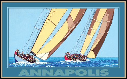 Northwest Art Mall Annapolis Sailing by David Linton Wall Decor, 11-Inch by - Annapolis Mall