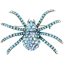 Blue on Silver Plated Sparkly Spider Brooch