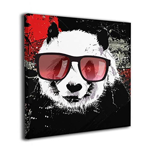 Yanghl Canvas Wall Art Prints Cute Hippie Panda with Sunglass On Grunge Modern Decorative Artwork for Wall Decor and Home Decor Framed Ready to Hang 20