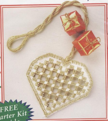(Hardanger Stitchery Kit Metallic Heart)