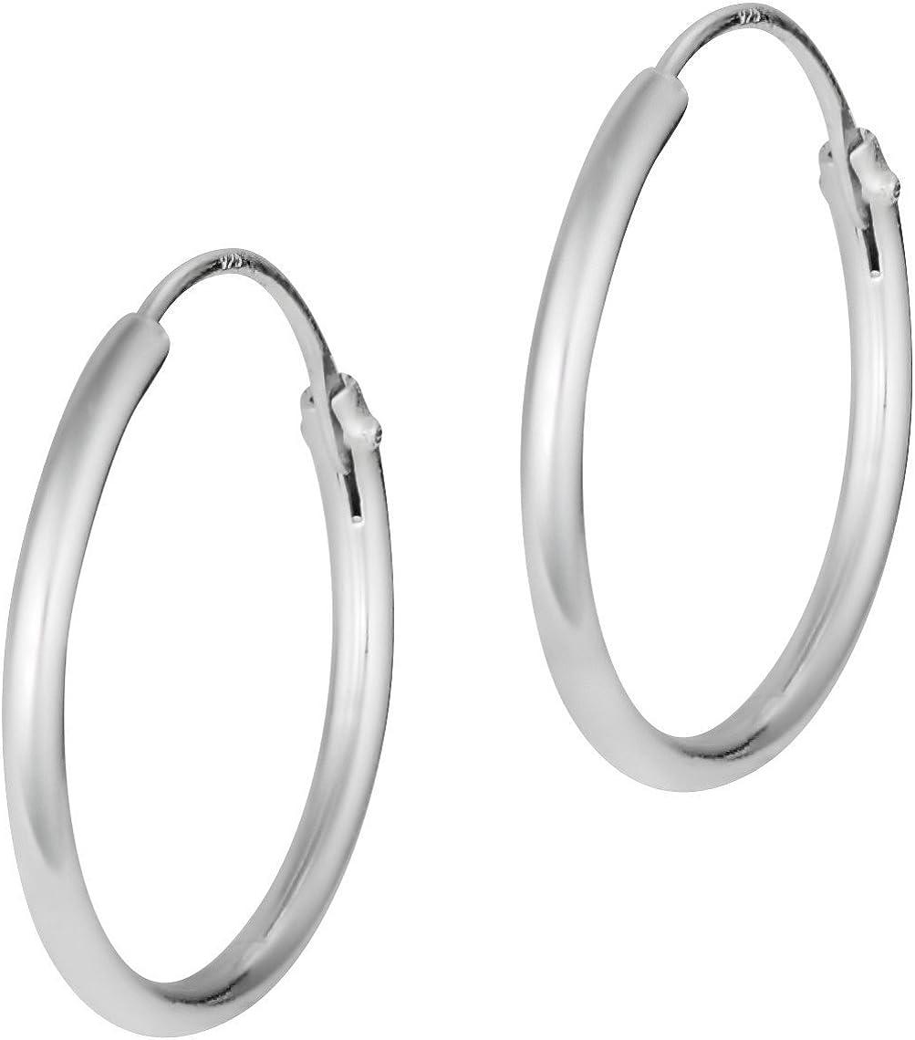 Hypoallergenic Sterling Silver  for Ladies Silver Earrings for Wome Aeon Sleeper Hoop Earrings with Hinged Closure for Women Ladies Girls