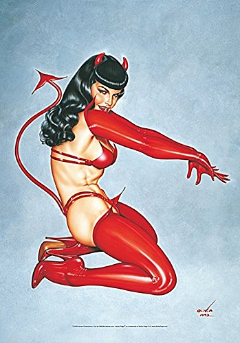 LPGI Bettie Page Red Devil Fabric Poster, 30 by 40-Inch