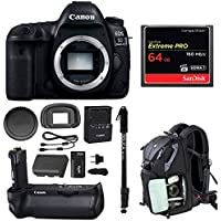 Canon EOS 5D Mark IV Professional Digital Camera: 30 Megapixel 4K video DSLR Bundle with Canon BG-E20 Battery Grip 64GBGB SD Card Backpack and Battery With Charger - Complete Travel Photography Bundle