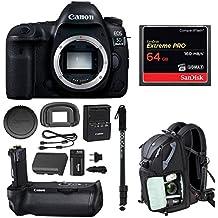 Canon EOS 5D Mark IV (Body Only), Battery Grip BG-E20 w/ Monopd & 64GB Bundle