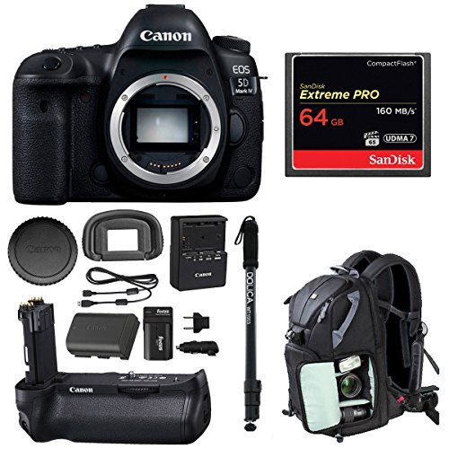 Full Frame Digital SLR (Body Only) with Canon Battery Grip BG-E20 + Sandisk 64GB Extreme Pro Compact Flash Memory Card + Monopod, Camera Backpack and Double Battery Bundle (Expandable Media Frame)