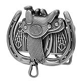 Buckle Rage Adult Womens Saddle Horseshoe Western Horse Ride Belt Buckle Silver