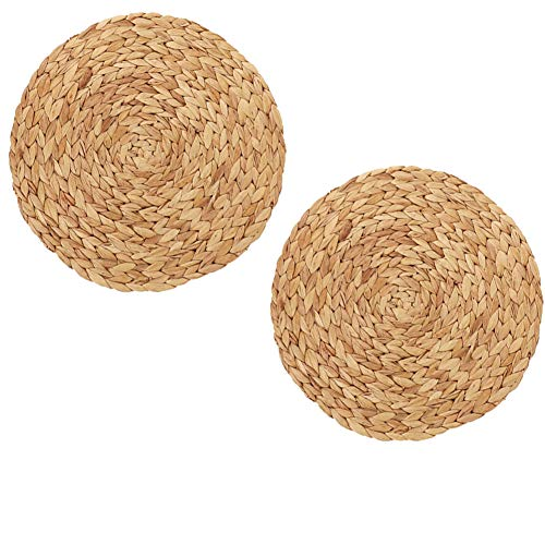 - JINMURY Natural Handmade Weave Placemat, Set of 2 Round Water Hyacinth Straw Braided Placemat for Dining Table Decor, Heat Resistant Anti-Skidding Tablemats, 9.84Inch