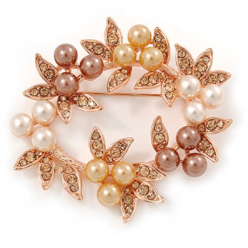 White/ Brown/ Light Orange Faux Pearl, Crystal Wreath Brooch In Rose Gold (Pearl Wreath Brooch)