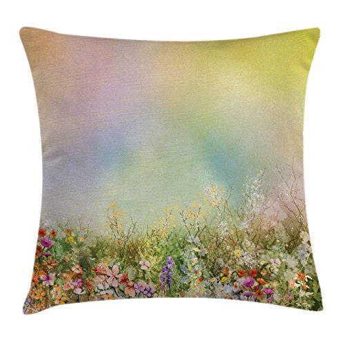 Ambesonne Watercolor Flower Home Decor Throw Pillow Cushion Cover, Cosmos Daisy Cornflower Wildflower Dandelion in Floral Meadow Scene, Decorative Square Accent Pillow Case, 18 X 18 inches, Multi