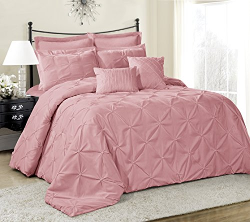 8 Piece Lucilla Bed in a Bag Comforter Sets- Queen King Cal.King Size (Queen, (Pink Bed Bag)
