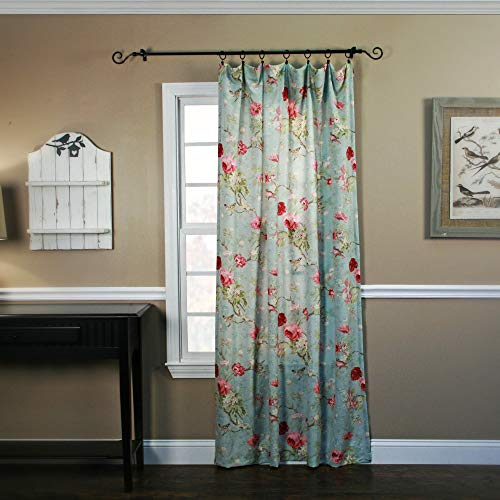 Balmoral Floral Print Tailored Panel Curtain 48-Inch-by-84-Inch - Sage/Wine ()
