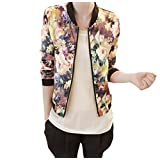 Changeshopping Women Stand Collar Long Sleeve Zipper Floral Printed Bomber Jacket