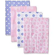 Gerber Baby Girls' 4 Pack Flannel Burp Cloths, Leopard, One Size