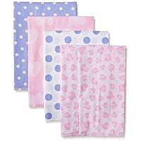 Gerber Baby Girls' 4 Pack Flannel Burp Cloths, Leopard, One Size
