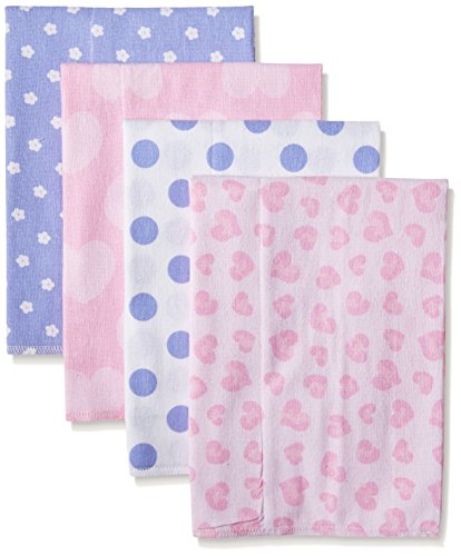 Gerber Baby Girls' 4 Pack Flannel Burp Cloths, Leopard, One (Leopard Flannel Gifts)