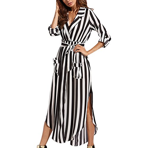 long black and white striped maxi dress - 9