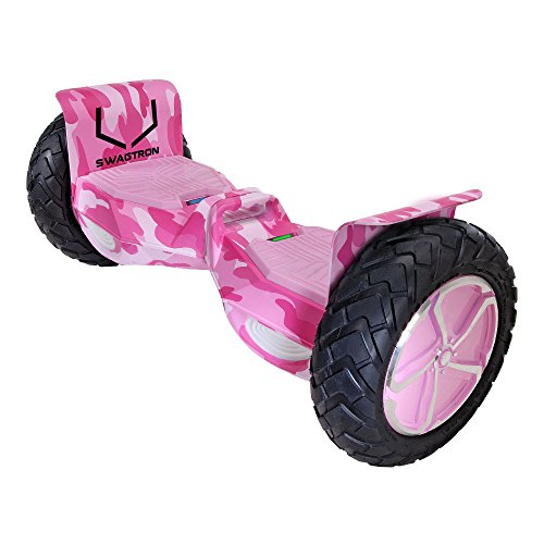 Swagtron T6 Off-Road Hoverboard - First in The World to Handle Over 380 LBS, Up to 12 MPH, UL2272 Certified, 10' Wheel (Pink Camouflage)