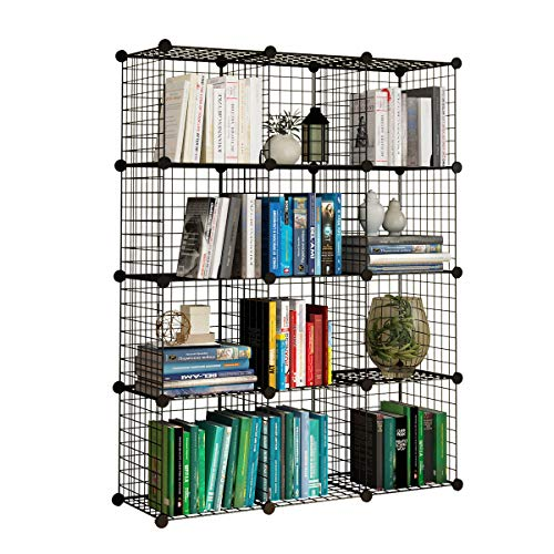 KOUSI Wire Cube Storage Origami Shelves Metal Grid Multifunction Shelving Unit Modular Cubbies Organizer Bookcase - 12 Cubes