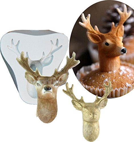 Anyana big Stag's Head mold Silicone Cupcake Baking Molds Christmas Deer Fondant molds Cake Decorating Tools Gumpaste Chocolate Candy Clay Moulds Non stick easy to use