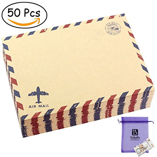 Bolbove Set of 50 Classic AirMail Vintage Style Kraft Paper Postcard Letter Envelopes Invitations (Brown)