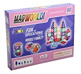 MagWorld Toys Magnetic Construction Pastel Colors-60 Piece Set. Create 2D and 3D Shapes, Figures & Architecture. Beginner to Advanced STEM Play Age 3 and Up.