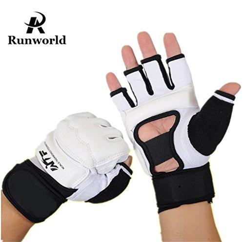 Leather Wrist Wrap Grappling Gloves - Runworld Men Kids Taekwondo Gloves Punch Bag Boxing Martial Arts MMA Sparring Grappling Muay Thai Training PU Leather Wrist Wraps Gloves (White, Medium)