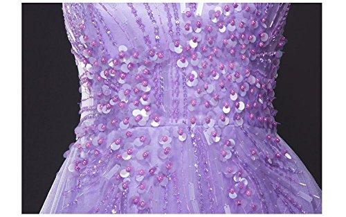 Pailletten Arm Emily Abendkleider Violett Beauty Ohne Ausschnitt A Linie V Reißverschluss Transparent qTnHUA