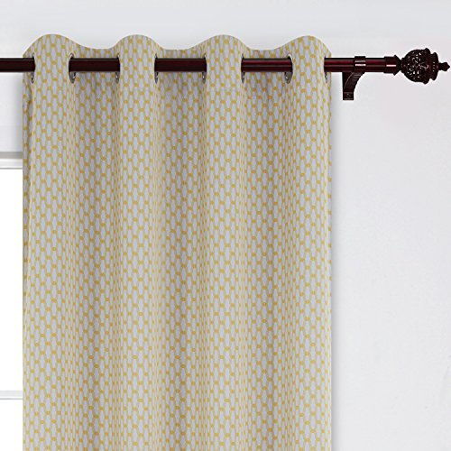 Deconovo Moroccan Print Curtain Panels Energy Efficient Curtains Grommet Hotel Qulity Yellow Blackout Curtains for Living Room 52x63 Inch 2 Panels