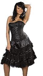 14cb7d232b6 Burleska Plus Size Lolita Black Satin Gothic Knee Length Burlesque Skirt  L-1X