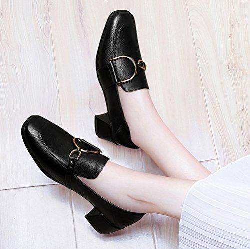 Zapatos Cuero Antideslizante De Zapatos Mujer Zapatos Nueva Impermeable Black Cabeza De Moda Cuadrada Con áspera JQNSX Con xqYnSwCw