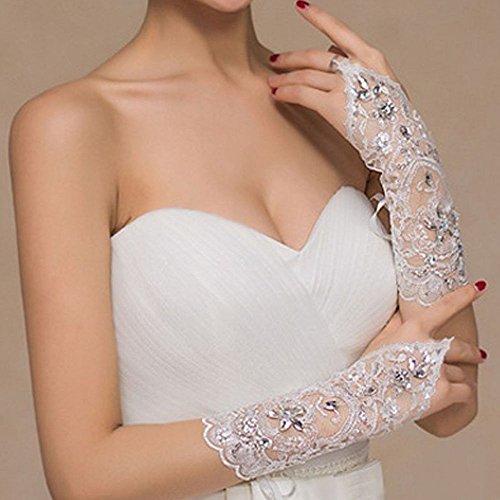 Lace Gloves Short Wedding Beads Gloves Rhinestone Dress Fingerless Bride fnz6x14