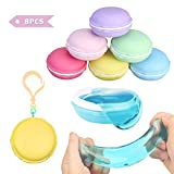 FUNTOK Crystal clay, Macaroon Slime kit Mud Putty Toy Soft Squeeze Squishy Jelly Pudding Toy Scented Stress Relief Toy For Kids Education 8PCS