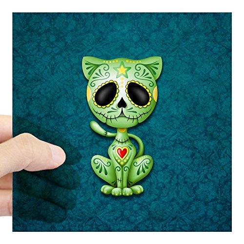 CafePress Green and Blue Zombie Sugar Skull Kitten Sticker Square Bumper Sticker Car Decal, 3