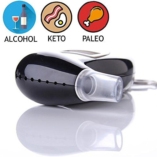 Keychain Alcohol Breathalyzer / Ketometer receptive to both Alcohol and Ketone bodies to monitor ketosis in Ketogenic Paleo and Atkin's diet